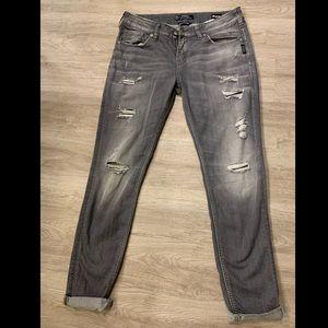 Silver • Super Stretch Boyfriend Jeans